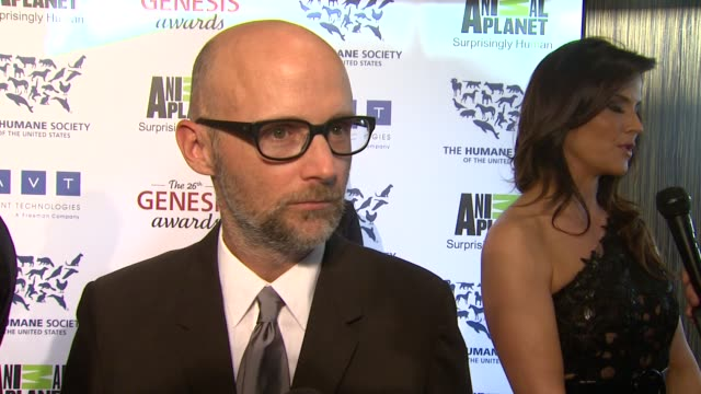 moby on animal advocacy at the 26th annual genesis awards presented by the humane society of the united states on 3/24/12 in los angeles, ca - モービー点の映像素材/bロール