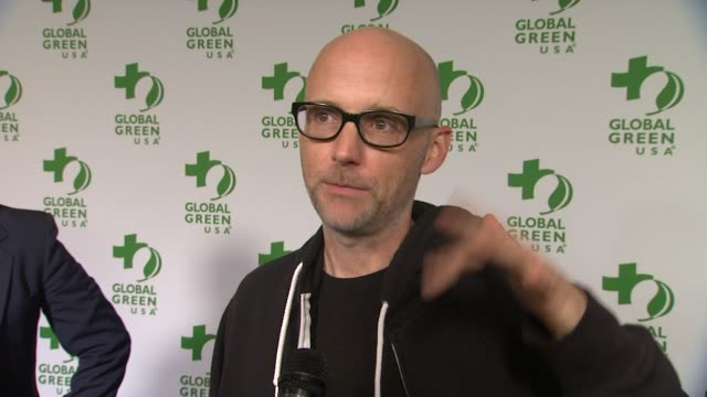 moby on performing at the event, his academy awards predictions, and on being green at home at the global green usa 11th annual pre-oscar® partyat... - モービー点の映像素材/bロール