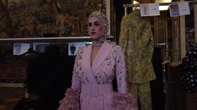 model backstage ahead of the juana martin haute couture spring/summer 2020 show as part of paris fashion week on january 23, 2020 in paris, france. - paris fashion week - haute couture spring/summer 2020点の映像素材/bロール