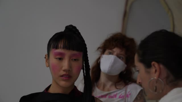 model backstage has makeup artist wears a face mask ppe ahead of the lula laora show during lfw september 2020 at studio z, brixton on september 22,... - fashion show stock videos & royalty-free footage