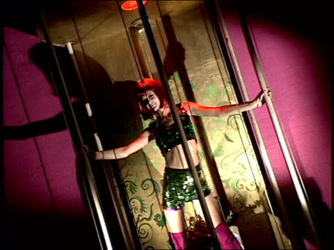 model dancing in a cage in nyc's roxy club - roxy nyc stock videos & royalty-free footage