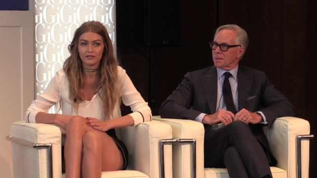 Model Gigi Hadid and legendary designer Tommy Hilfiger gives a press conference in New York the young model is unveiling a new fashion line she...