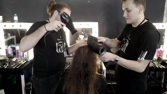 berlin germany january 15 a model is styled backstage ahead of the riani show during berlin fashion week autumn/winter 2020 at kraftwerk mitte on... - gif stock videos and b-roll footage