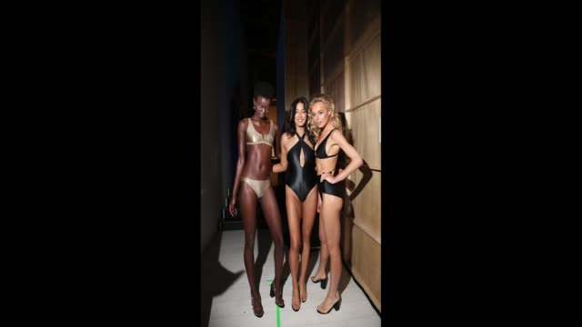 model jessica gomes poses with other models backstage ahead of the jets show at mercedesbenz fashion week resort 19 collections at carriageworks on... - australian fashion week stock videos & royalty-free footage