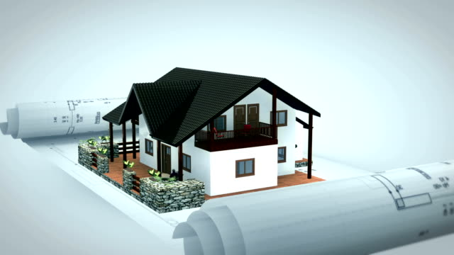 A 3D model of a house rotates on a blueprint.