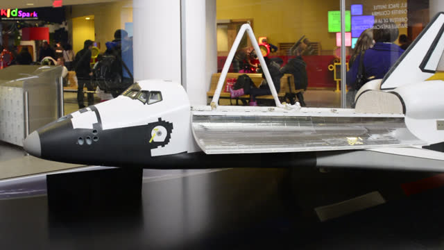 model of a nasa space vehicle is seen in the ontario science centre on june 25, 2014; in toronto, ontario, canada. the space shuttle exhibits the... - local landmark stock videos & royalty-free footage