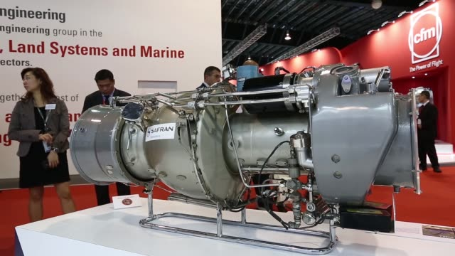 A model of CFM power engine is displayed at the Singapore Airshow
