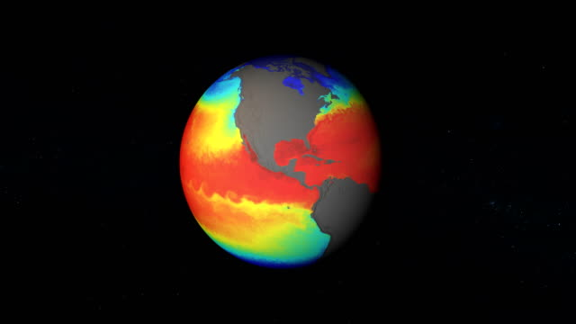 model of earth temperatures. nasa public domain imagery - climate scientist stock videos & royalty-free footage