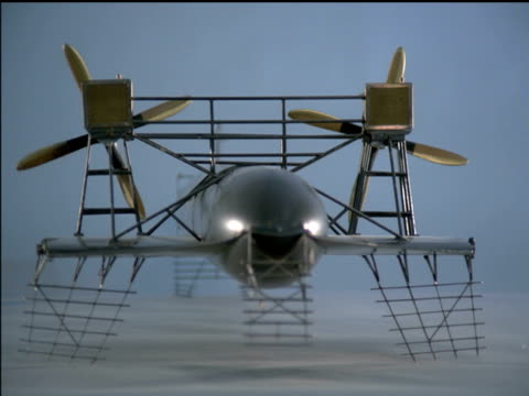 / model of prototype of twin propeller flying machine invented by alexander graham bell. model twin propeller flying machine prototype on january 01,... - プロトタイプ点の映像素材/bロール