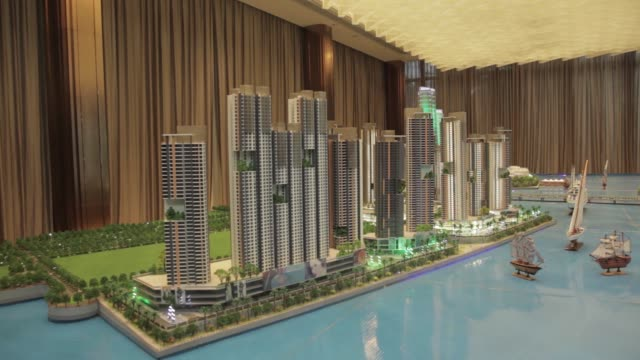 a model of the princess cove development is displayed at the rf properties malaysia property showroom in iskandar malaysia zone of johor bahru johor... - johor stock videos & royalty-free footage