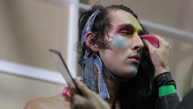 model prepares backstage ahead of the iordanes spyridon gogos show during afterpay australian fashion week 2021 resort '22 collections at... - carriageworks stock videos & royalty-free footage