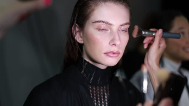 model prepares backstage ahead of the kitx show during afterpay australian fashion week 2021 resort '22 collections at carriageworks on june 02, 2021... - carriageworks stock videos & royalty-free footage
