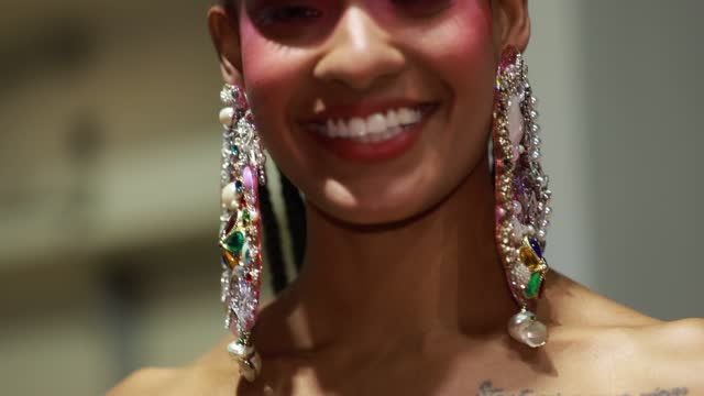 model prepares backstage ahead of the romance was born show during afterpay australian fashion week 2021 resort '22 collections at carriageworks on... - carriageworks stock videos & royalty-free footage