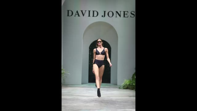 A model showcases designs by Jessica Gomes for Jets during the David Jones Spring Summer 18 Collections Launch at Fox Studios on August 8 2018 in...