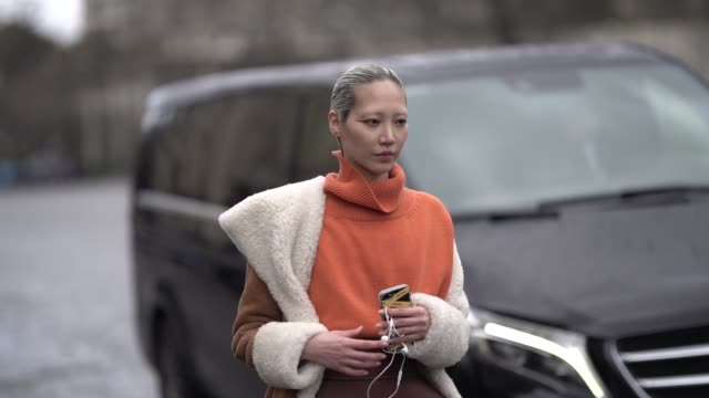 stockvideo's en b-roll-footage met model soo joo park wears an orange turtleneck sleeveless vest a sheepskin jacket a brown leather fantasy belt a black bag white wideleg pants white... - coltrui