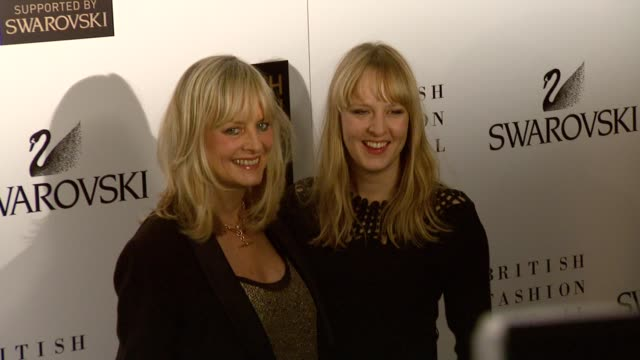 model twiggy and daughter carly lawson at the british fashion awards arrivals at london - twiggy fashion model stock videos and b-roll footage