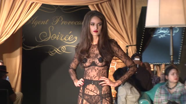 model walks runway at the agent provocateur lingerie show at the agent provocateur soir_e fashion show runway and backstage at new york ny - underwear stock videos & royalty-free footage