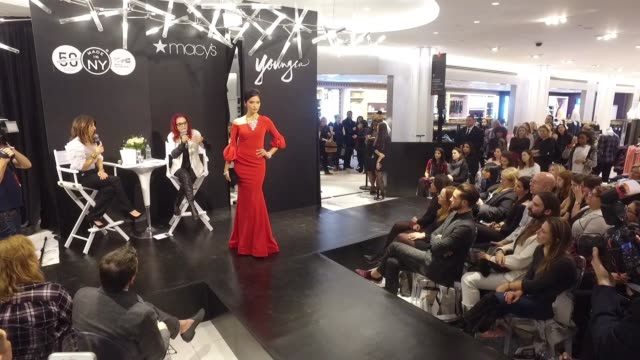 model walks the runway as patricia field and jacqueline demeterio speak onstage at patricia field jacqueline demeterio from tv land's younger curate... - macy's herald square stock videos and b-roll footage