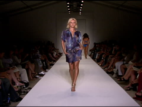model walks the runway at ank swimwear 2009 collection fashion show during mercedes-benz fashion week swim at the raleigh hotel on july 18, 2008 in... - fashion collection stock videos & royalty-free footage