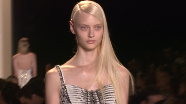 a model walks the runway at herve leger by max azria runway spring 2013 mercedesbenz fashion week at the theatre at lincoln center on september 08... - bcbg max azria stock videos & royalty-free footage