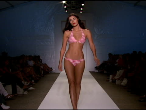 a model walks the runway at pistol panties swimwear 2009 collection fashion show during mercedesbenz fashion week swim at the raleigh hotel on july... - mercedes benz fashion week stock videos & royalty-free footage