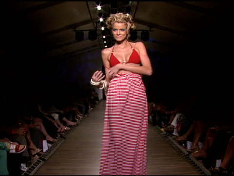 a model walks the runway at red carter swimwear 2009 collection fashion show during mercedesbenz fashion week swim at the raleigh hotel on july 18... - mercedes benz fashion week stock videos & royalty-free footage