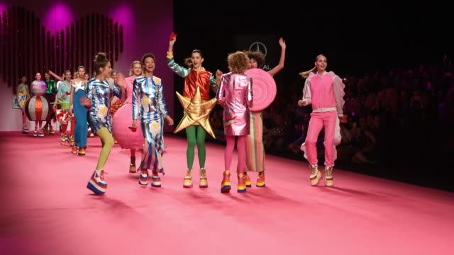 A model walks the runway at the Agatha Ruiz de la Prada fashion show during the Mercedes Benz Fashion Week Autumn/Winter 20192020 at Ifema on January...