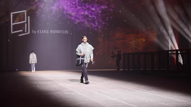 model walks the runway at the elias by elias rummelis show during the mercedes-benz fashion week berlin january 2021 at kraftwerk mitte on january... - arts culture and entertainment stock videos & royalty-free footage