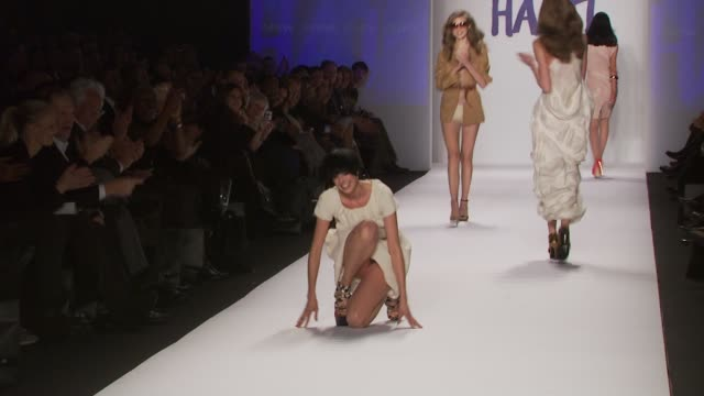 model walks the runway at the fashion for relief haiti nyc show during mercedesbenz fashion week fall 2010 at the fashion for relief haiti nyc fall... - model stock videos & royalty-free footage