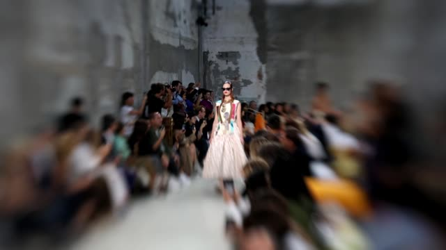 a model walks the runway at the marni show during milan fashion week spring/summer 2019 on september 23 2018 in milan italy - marni stock videos & royalty-free footage