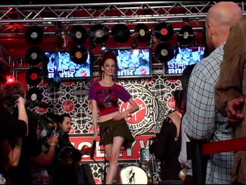 A Model walks the runway at the Virgin Megastore Hollywood launch of their new fashion and accessories line with a rock n roll Girls Rock Fashion...