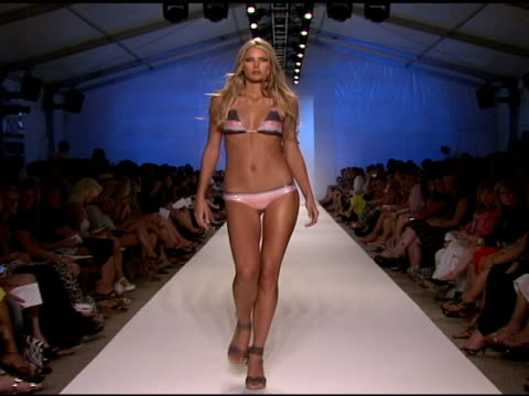 model walks the runway at vix swimwear 2009 collection fashion show during mercedes-benz fashion week swim at the raleigh hotel on july 21, 2008 in... - fashion collection stock videos & royalty-free footage