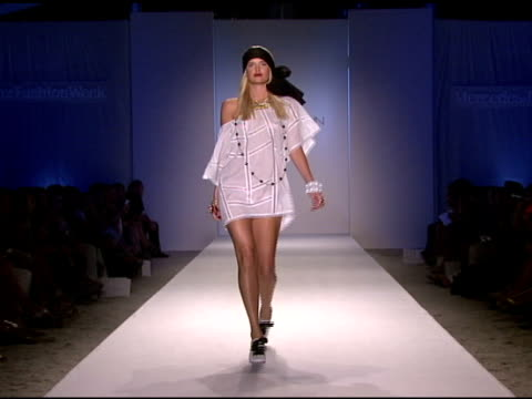 a model walks the runway at zimmermann swimwear 2009 collection fashion show during mercedesbenz fashion week swim at the raleigh hotel on july 18... - mercedes benz fashion week stock videos & royalty-free footage