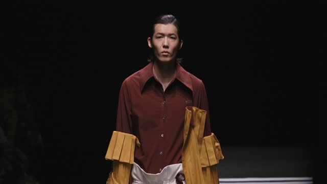 model walks the runway during the 95s.y collection show by chain yu on day seven of china fashion week a/w 2021/2022 at 751d.park on march 30, 2021... - fashion collection stock videos & royalty-free footage