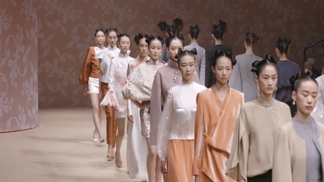 model walks the runway during the chiayi collection show by chinese designer by yarong sheng on day seven of china fashion week a/w 2021/2022 at... - fashion collection stock videos & royalty-free footage