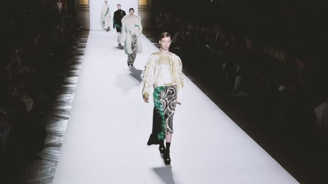 a model walks the runway during the dries van noten ready to wear fall/winter fashion show as part of the paris fashion week womenswear fall/winter... - paris fashion week stock videos & royalty-free footage