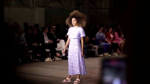 model walks the runway during the first nations fashion + design show during afterpay australian fashion week 2021 resort '22 collections at... - carriageworks stock videos & royalty-free footage