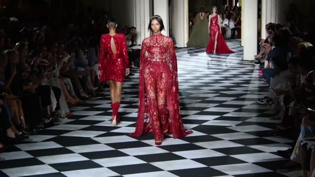 a model walks the runway during the zuhair murad haute couture fall winter 2018/2019 fashion show as part of paris fashion week on july 4 2018 in... - paris fashion week stock videos & royalty-free footage