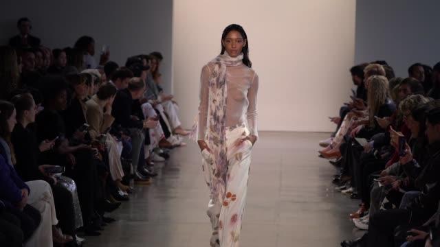 model walks the runway for alejandra alonso rojas fashion show at gallery ii at spring studios on february 12, 2020 in new york city. - ニューヨークファッションウィーク点の映像素材/bロール