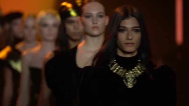 model walks the runway for raisavanessa during new york fashion week at gallery i at spring studios on february 12, 2020 in new york city. - new york fashion week stock videos & royalty-free footage
