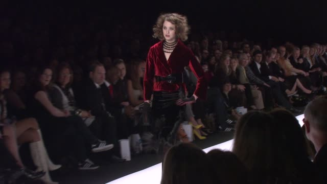 A model walks the runway wearing Chris March for 'Project Runway' Season 4 at The Tent at the MercedesBenz Fashion Week Fall 2008 'Project Runway'...