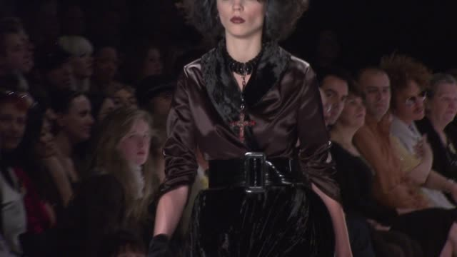 a model walks the runway wearing chris march for 'project runway' season 4 at the tent at the mercedesbenz fashion week fall 2008 'project runway'... - season 4 stock videos and b-roll footage