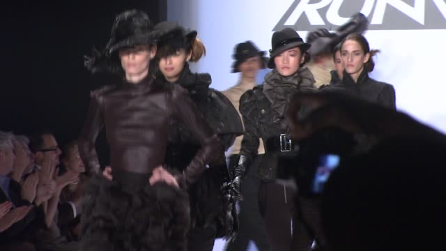 a model walks the runway wearing christian siriano for 'project runway' season 4 at the tent at the mercedesbenz fashion week fall 2008 'project... - season 4 stock videos and b-roll footage