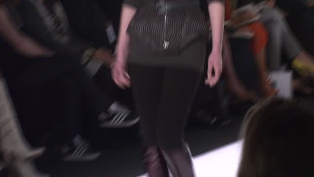 a model walks the runway wearing jillian lewis for 'project runway' season 4 at the tent at the mercedesbenz fashion week fall 2008 'project runway'... - season 4 stock videos and b-roll footage