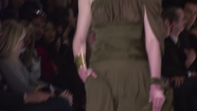 a model walks the runway wearing rami kashou for 'project runway' season 4 at the tent at the mercedesbenz fashion week fall 2008 'project runway'... - season 4 stock videos and b-roll footage