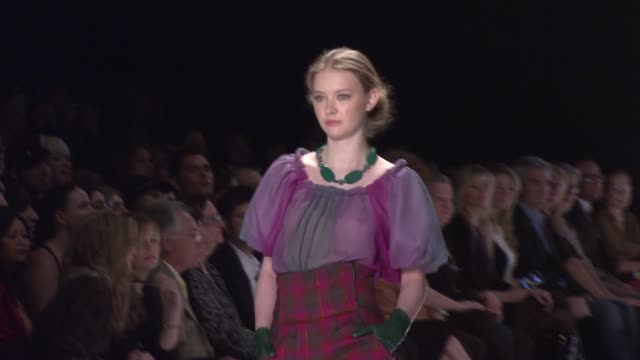 a model walks the runway wearing sweet pea for 'project runway' season 4 at the tent at the mercedesbenz fashion week fall 2008 'project runway'... - season 4 stock videos and b-roll footage