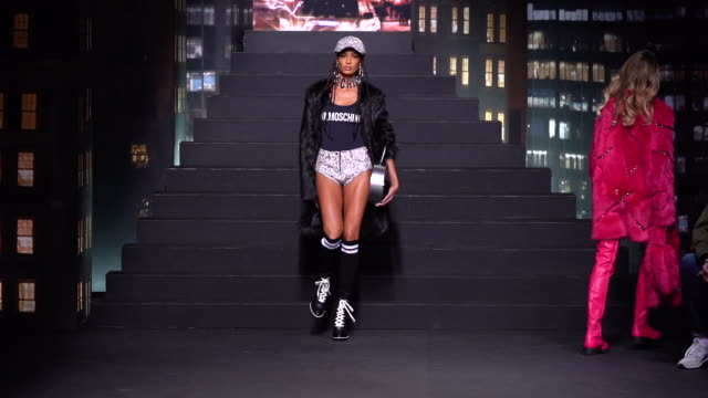 a model walks the ruwnay at moschino x hm runway at pier 36 on october 24 2018 in new york city - ramp stock videos & royalty-free footage