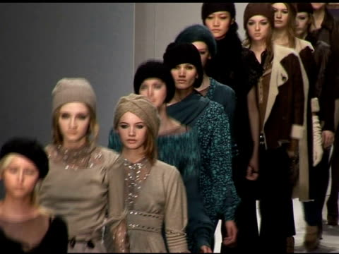 model wearing gharani strok autumn/winter 2006 at the london fashion week autumn/winter 2006 gharani strok runway at the natural history museum in... - fashion collection stock videos & royalty-free footage
