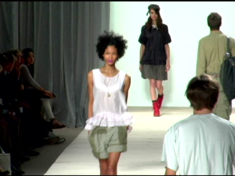 model wearing marc by marc jacobs spring 2007 at the olympus fashion week spring 2007 marc by marc jacobs runway at new york state armory in new york... - marc jacobs designer label stock videos and b-roll footage