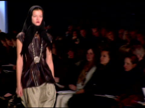 Model wearing Vera Wang Fall 2007 at the MercedesBenz Fashion Week Fall 2007 Vera Wang Runway at the Tent at Bryant Park in New York New York on...
